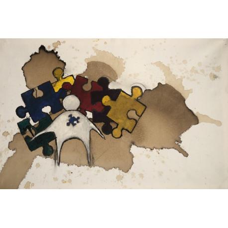 Tavla -Lägga puzzel med en hammare (orginal) (förhandsbokning)